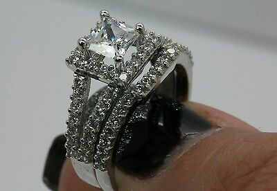 3CT SOLITAIRE ENGAGEMENT BRILLIANT PRINCESS CUT RING SOLID 14K WHITE GOLD