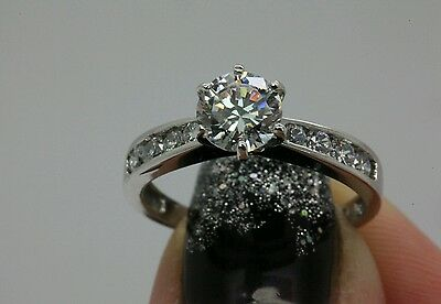 1 5Ct  Man Made  Diamond Engagement Solitaire Ring 14Kt White Gold Free Size