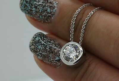 """1CT ROUND SOLITAIRE PENDANT NECKLACE BEZEL SET 18"""" CHAIN SOLID 14K WHITE GOLD"""