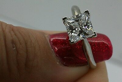 1 5Ct Solitaire Engagement  Princess Cut Ring Solid 14K White  Gold Free Sizing