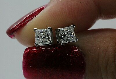 1ct Princess Cut Stud Earrings in Solid 14k Real White Gold Screw Back