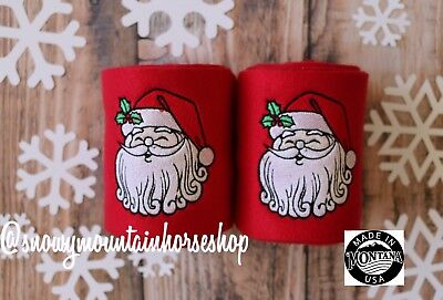 Holiday Themed Christmas Polo Wraps For Horses Polos Set of 2 Embroidered Santa - Horse Costume For 2