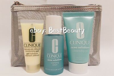 Clinique Acne Solutions Cleansing Gel + Clarifying Lotion + Moisturizing Gel NEW