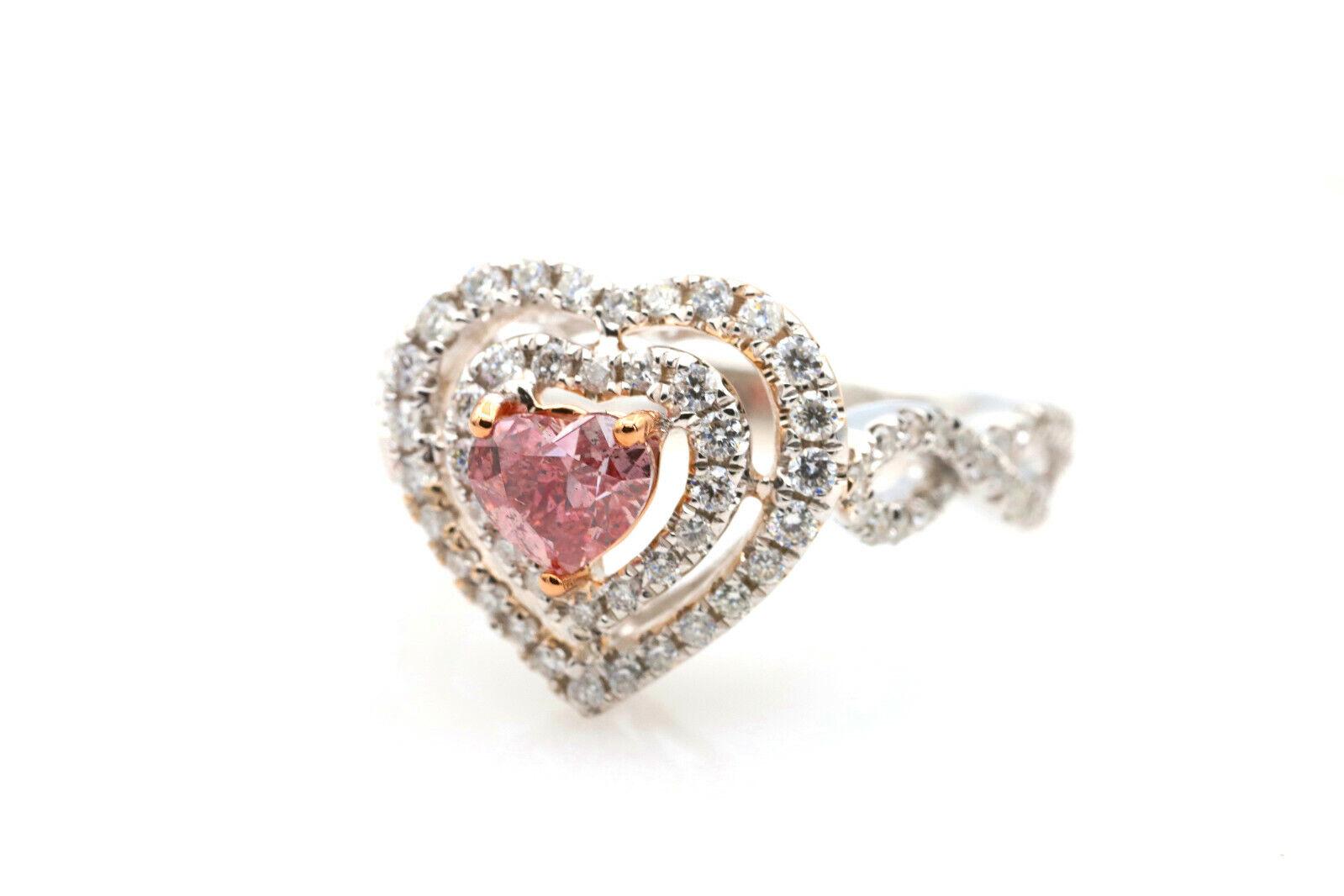 Argyle 1.07ct Natural Fancy Deep Pink Diamond Engagement Ring GIA 18K White Gold 1