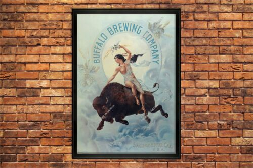 1901 BUFFALO BREWING CO. 13X19  INCH ADVERTISEMENT PRINT BEER NUDE INDIAN MAIDEN