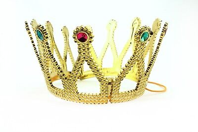 Gold Royal King Queen Jeweled Plastic Crown Prince Costume Accessory Adult/Kid - Plastic Prince Crown