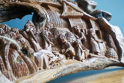 INTRICATE INDONESIAN WOODEN CARVING FREE UK P&P