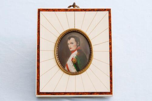 19th Century Handpainted Miniature Portrait of French Emperor Napoleon Bonaparte