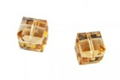 12pcs. #5601 Swarovski Austrian Crystal Beads - Light Colorado Topaz - 4mm Cube Cube Swarovski Austrian Crystal