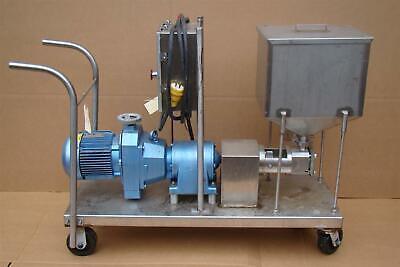 Stainless Sanitary Material Pump W Hopper Sew Eurodrive 1.5 Hp R60d24bndt90s4