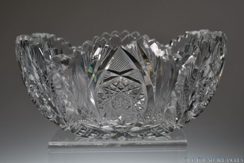 """c. 1900s  GARLAND by Pitkin and Brooks ABP CLEAR 8""""W Bowl"""