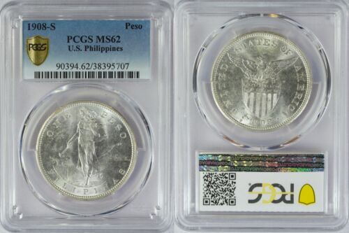 1908-S US/Philippines Peso ~ PCGS MS62 ~ Allen#17.03 ~ Bright and Lustrous ~ 707