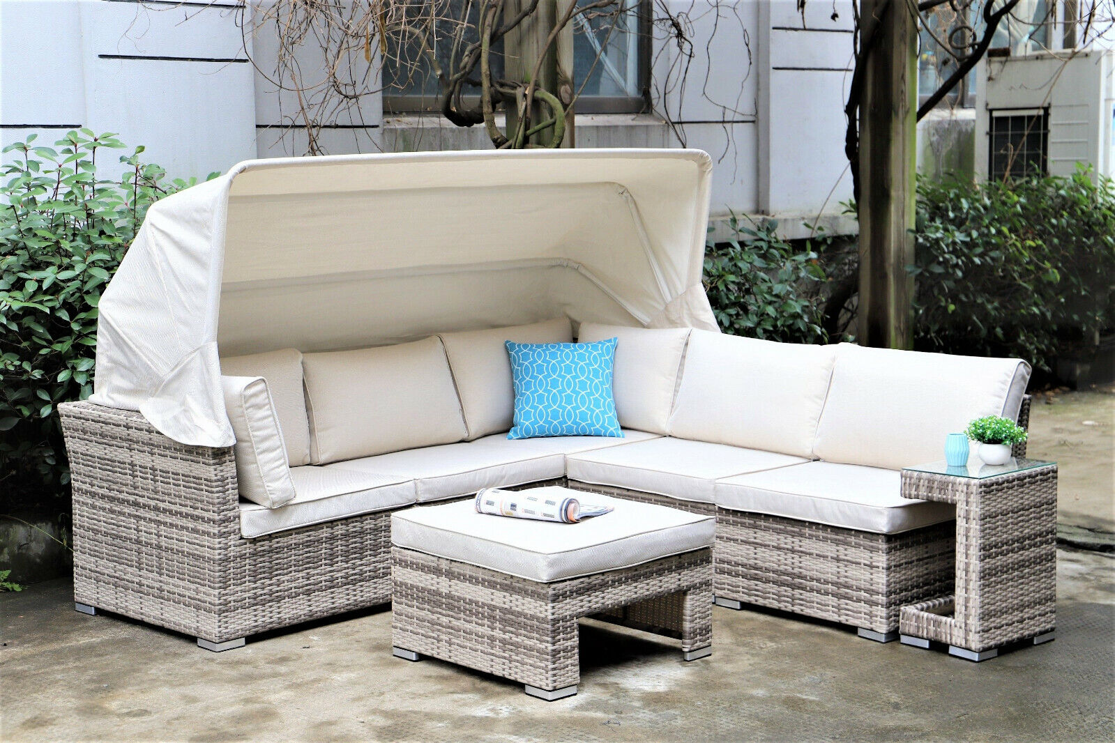 Picture of: Alfresco Champagne Sapphire Canopy Sofa Set With Footstool And Side Table Ebay