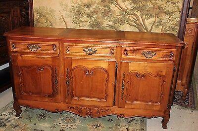 (French Antique Louis XV Walnut Long Sideboard Long Buffet Circa 18th Century)