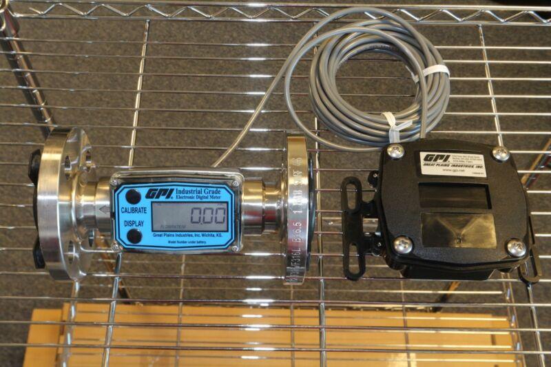 "GPI 1"" Stainless Steel Flange Turbine Flowmeter + Remote Pulse Out Transmitter"