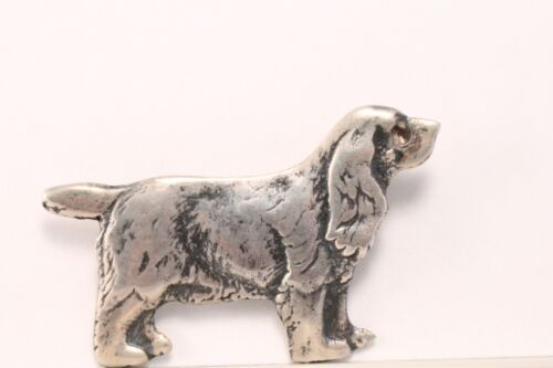 Vintage Cocker Spaniel Dog Brooch Pin Sterling Silver