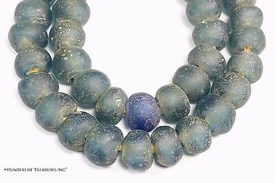 African Aqua Recycled Glass Beads from Ghana Africa 20 mm