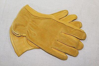 Premium Grade Grain Deerskin Leather Driver Work Gloves Suede Back X-Small XS