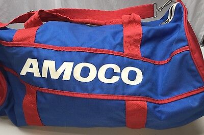 SAA Vtg Amoco Gas Gasoline Oil Graphic  Red Blue Duffle Bag