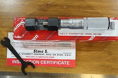 New Starrett No. 225 Wire Disc Edge Hub Outside Micrometer 0-10mm 0.001mm