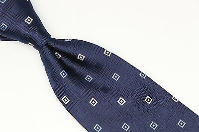 (Michael Kors Silk Neck Tie Navy Tonal Light Blue White Square Check Weave Used)