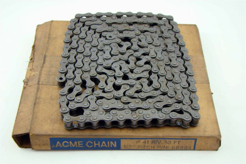 """Acme Roller Chain 1/2"""" Pitch #41 Riv 10"""