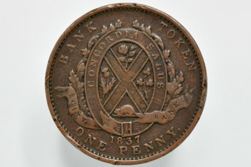 1837 City Bank, Lower Canada Penny Token KM# Tn10