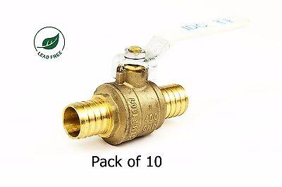 1 Pex Brass Shut Off Ball Valve Full Port Psi Non-shock Wog Lead Free 10 Pack