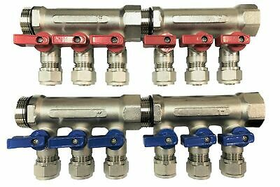 1 6-loopport Ball Valve Redblue Brass Manifold For 12 Pex