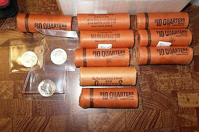 Click now to see the BUY IT NOW Price! 9 1960 D WASHINGTON QUARTERS $10 BU BANK WRAPPED ROLLS 360 COINS TOTAL