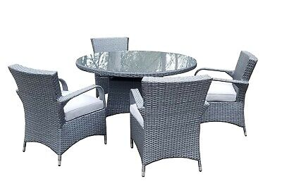 Grey Rattan Patio Garden Furniture Dining Set