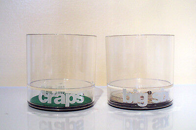 VTG SET OF 2 HOWW NOVELTY ACRYLIC 12 oz GLASSES CASINO CRAPS & BIG SIX -EXC COND