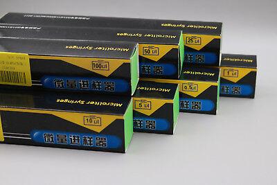 Glass 0.5ul 1ul 5ul 10ul 25ul 50ul 100ul Trace Syringe Micro Injector