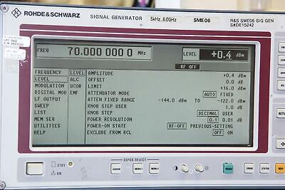 Rohde Schwarz Sme06 5khz To 6ghz Rf Signal Generator W 6 Options
