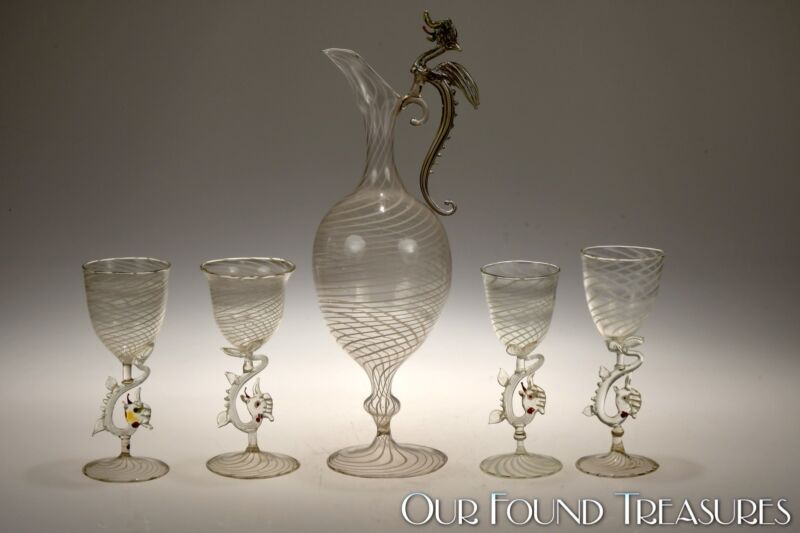 1920s Dragon Handled & Stemmed BIMINI Austrian Swirl Glass Decanter & 4 Stems