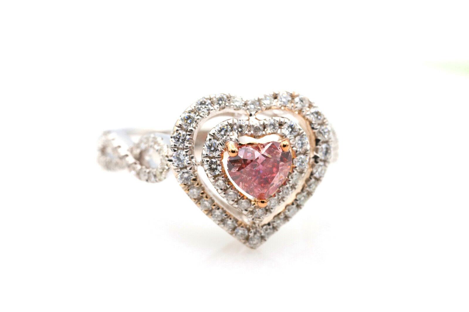 Argyle 1.07ct Natural Fancy Deep Pink Diamond Engagement Ring GIA 18K White Gold 3
