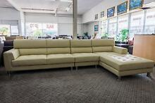 New 5 Seater Chaise Full Leather Lounge Set Cream WAS $3000 SALE Punchbowl Canterbury Area Preview