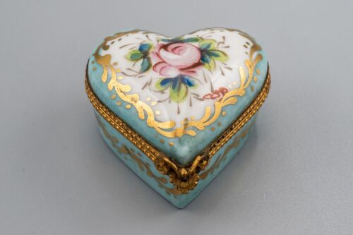 Limoges France Porcelain Trinket Box Heart Blue Gold Flower Rose Peint Main