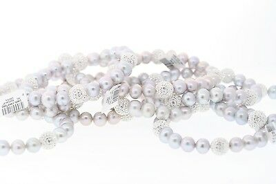 Wholesale Lot of 10 Genuine Grey 8-9mm Pearl Swarovski Crystal Accented Bracelet