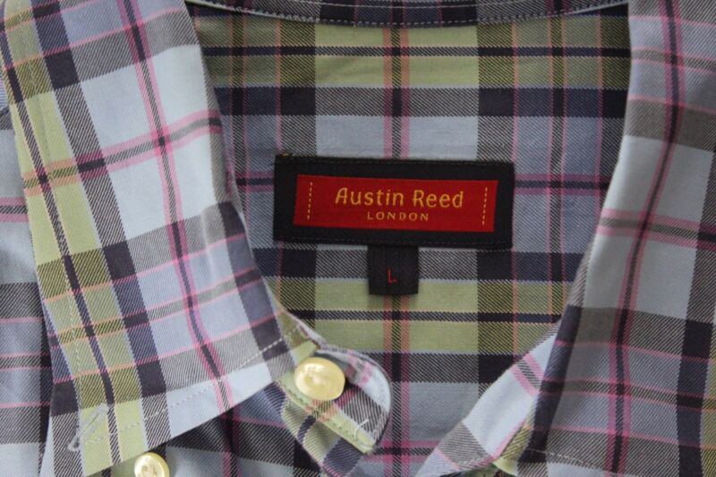 Austin Reed London Plaid Pocket Button Up Shirt Large L Ctn Ebay