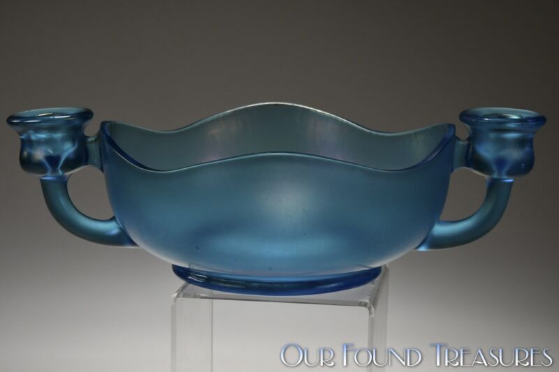 c. 1920s Candleholder / Bowl by Diamond Glass-Ware BLUE STRETCH