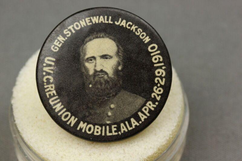 United Confederate Veterans Reunion Mobile Ala Stonewall Jackson Celluloid Pin