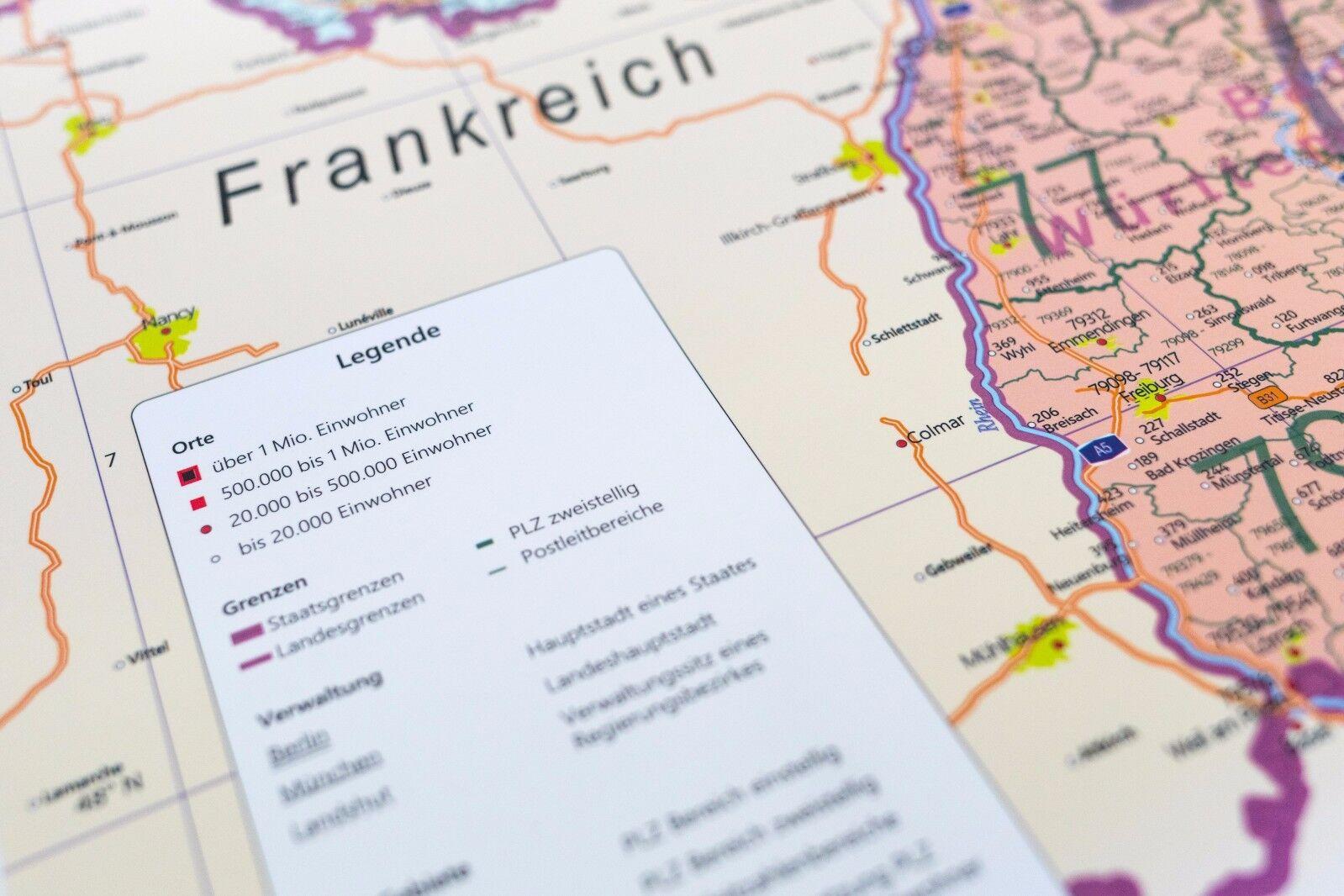 Bundesländer Karte Mit Plz.Details Zu Postleitzahlen Karte Poster Plz Deutschland Mit Bundesländern Laminiert A0 2018