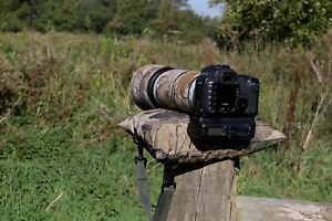 WOODLAND FILLED Camera Bean Bag & Shoulder Strap, Zipped inside LINER Water P