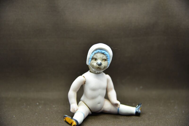 Antique German Porcelain Doll From Limbach Animal Doll Cat With Hat Ebay