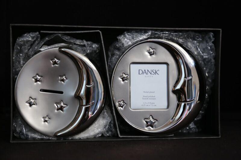 Dansk Nickel Plated Moon Baby Frame & Bank Gift Set NEW