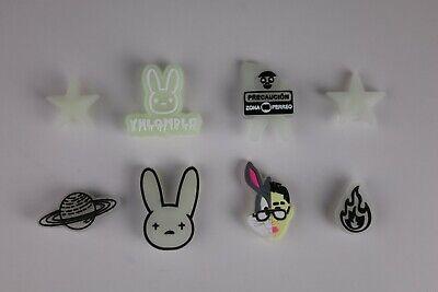 NEW 8 pc BAD BUNNY Shoe Charms FOR Croc & Bracelet & shoe Wristband Glow In Dark