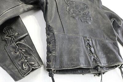 Damen Harley Davidson Lederjacke XL Schwarz Distressed Corral Eagle Geprägt - Geprägtes Leder Blazer