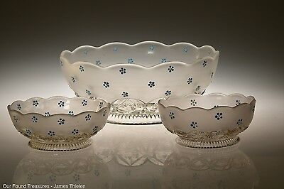 c. 1893 No. 700 HERO by West Va. Glass FROSTED CRYSTAL Deco. 3 PC Berry Set