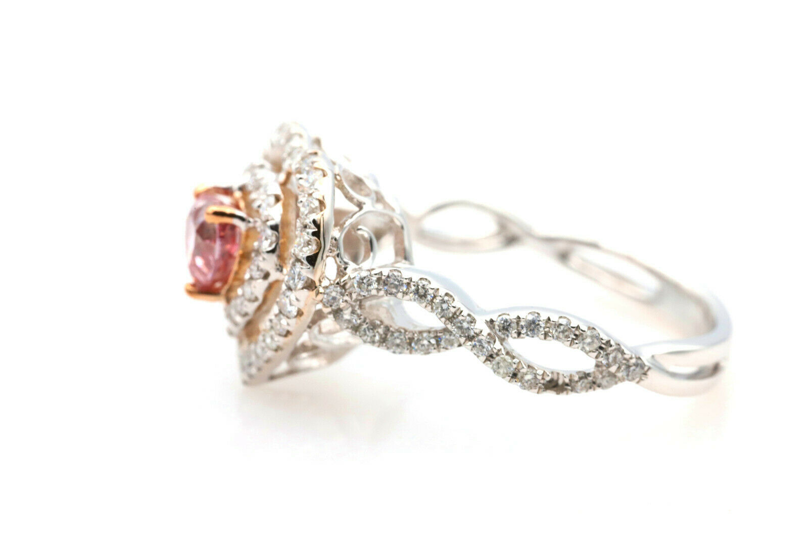 Argyle 1.07ct Natural Fancy Deep Pink Diamond Engagement Ring GIA 18K White Gold 2